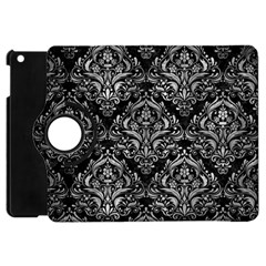 Damask1 Black Marble & Gray Metal 2 Apple Ipad Mini Flip 360 Case by trendistuff