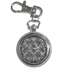 Damask1 Black Marble & Gray Metal 2 (r) Key Chain Watches by trendistuff