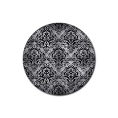 Damask1 Black Marble & Gray Metal 2 (r) Rubber Coaster (round)  by trendistuff