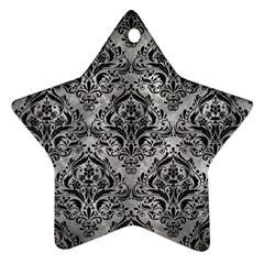 Damask1 Black Marble & Gray Metal 2 (r) Star Ornament (two Sides) by trendistuff