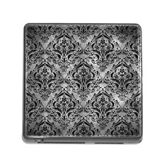 Damask1 Black Marble & Gray Metal 2 (r) Memory Card Reader (square) by trendistuff