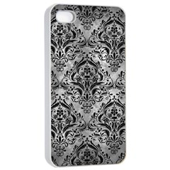 Damask1 Black Marble & Gray Metal 2 (r) Apple Iphone 4/4s Seamless Case (white) by trendistuff