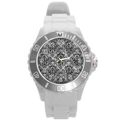 Damask1 Black Marble & Gray Metal 2 (r) Round Plastic Sport Watch (l) by trendistuff