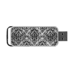 Damask1 Black Marble & Gray Metal 2 (r) Portable Usb Flash (two Sides) by trendistuff