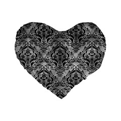 Damask1 Black Marble & Gray Metal 2 (r) Standard 16  Premium Heart Shape Cushions by trendistuff