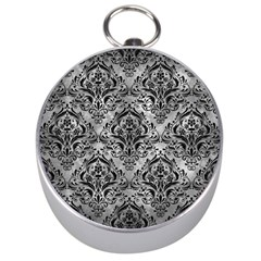 Damask1 Black Marble & Gray Metal 2 (r) Silver Compasses by trendistuff