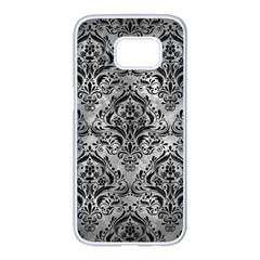 Damask1 Black Marble & Gray Metal 2 (r) Samsung Galaxy S7 Edge White Seamless Case by trendistuff