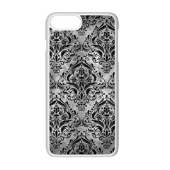 Damask1 Black Marble & Gray Metal 2 (r) Apple Iphone 7 Plus White Seamless Case by trendistuff