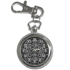 Damask2 Black Marble & Gray Metal 2 Key Chain Watches by trendistuff
