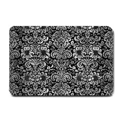 Damask2 Black Marble & Gray Metal 2 Small Doormat