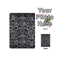 Damask2 Black Marble & Gray Metal 2 Playing Cards 54 (mini)  by trendistuff