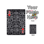 DAMASK2 BLACK MARBLE & GRAY METAL 2 Playing Cards 54 (Mini)  Front - Heart3