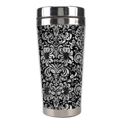 Damask2 Black Marble & Gray Metal 2 Stainless Steel Travel Tumblers by trendistuff