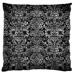 Damask2 Black Marble & Gray Metal 2 Large Flano Cushion Case (two Sides) by trendistuff