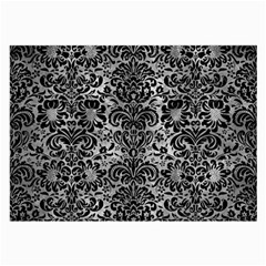 Damask2 Black Marble & Gray Metal 2 (r) Large Glasses Cloth (2 Side) by trendistuff
