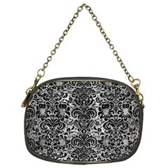 Damask2 Black Marble & Gray Metal 2 (r) Chain Purses (two Sides)