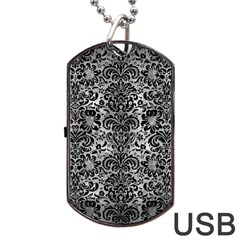 Damask2 Black Marble & Gray Metal 2 (r) Dog Tag Usb Flash (two Sides) by trendistuff