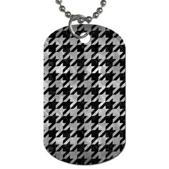 Houndstooth1 Black Marble & Gray Metal 2 Dog Tag (two Sides) by trendistuff
