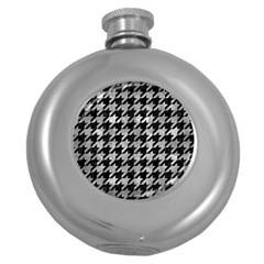 Houndstooth1 Black Marble & Gray Metal 2 Round Hip Flask (5 Oz) by trendistuff