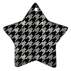 Houndstooth1 Black Marble & Gray Metal 2 Star Ornament (two Sides) by trendistuff