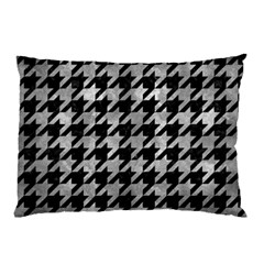 Houndstooth1 Black Marble & Gray Metal 2 Pillow Case by trendistuff