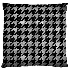 Houndstooth1 Black Marble & Gray Metal 2 Large Cushion Case (two Sides) by trendistuff