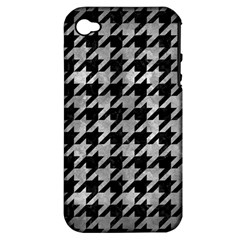 Houndstooth1 Black Marble & Gray Metal 2 Apple Iphone 4/4s Hardshell Case (pc+silicone) by trendistuff