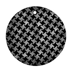 Houndstooth2 Black Marble & Gray Metal 2 Ornament (round) by trendistuff