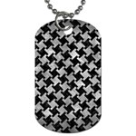 HOUNDSTOOTH2 BLACK MARBLE & GRAY METAL 2 Dog Tag (Two Sides) Front