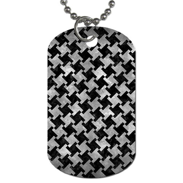 HOUNDSTOOTH2 BLACK MARBLE & GRAY METAL 2 Dog Tag (Two Sides)