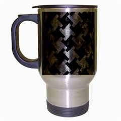 Houndstooth2 Black Marble & Gray Metal 2 Travel Mug (silver Gray) by trendistuff