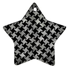 Houndstooth2 Black Marble & Gray Metal 2 Star Ornament (two Sides) by trendistuff