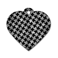 Houndstooth2 Black Marble & Gray Metal 2 Dog Tag Heart (one Side) by trendistuff