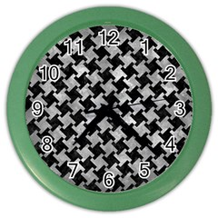 Houndstooth2 Black Marble & Gray Metal 2 Color Wall Clocks by trendistuff