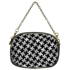 Houndstooth2 Black Marble & Gray Metal 2 Chain Purses (one Side)  by trendistuff