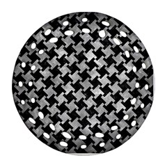 Houndstooth2 Black Marble & Gray Metal 2 Round Filigree Ornament (two Sides) by trendistuff