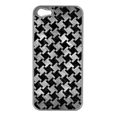 Houndstooth2 Black Marble & Gray Metal 2 Apple Iphone 5 Case (silver)
