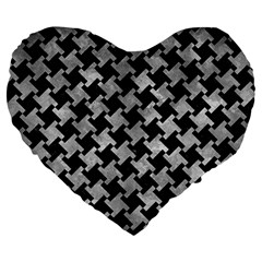 Houndstooth2 Black Marble & Gray Metal 2 Large 19  Premium Heart Shape Cushions by trendistuff