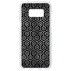 Hexagon1 Black Marble & Gray Metal 2 Samsung Galaxy S8 White Seamless Case by trendistuff