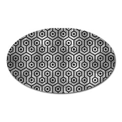 Hexagon1 Black Marble & Gray Metal 2 (r) Oval Magnet by trendistuff