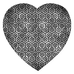 Hexagon1 Black Marble & Gray Metal 2 (r) Jigsaw Puzzle (heart) by trendistuff