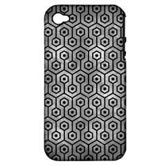 Hexagon1 Black Marble & Gray Metal 2 (r) Apple Iphone 4/4s Hardshell Case (pc+silicone) by trendistuff
