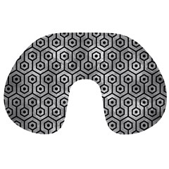 Hexagon1 Black Marble & Gray Metal 2 (r) Travel Neck Pillows by trendistuff