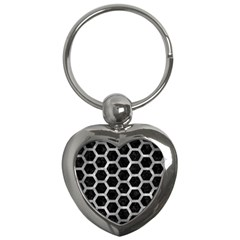Hexagon2 Black Marble & Gray Metal 2 Key Chains (heart)  by trendistuff