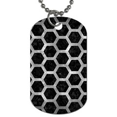 Hexagon2 Black Marble & Gray Metal 2 Dog Tag (two Sides) by trendistuff