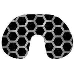 Hexagon2 Black Marble & Gray Metal 2 Travel Neck Pillows by trendistuff