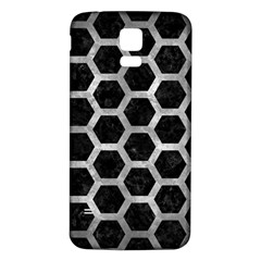 Hexagon2 Black Marble & Gray Metal 2 Samsung Galaxy S5 Back Case (white) by trendistuff