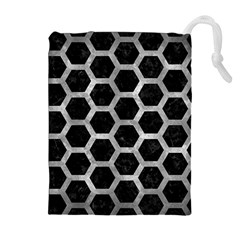 Hexagon2 Black Marble & Gray Metal 2 Drawstring Pouches (extra Large) by trendistuff