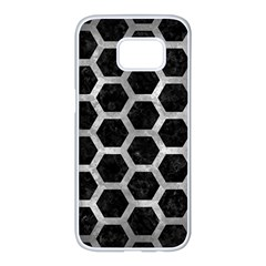 Hexagon2 Black Marble & Gray Metal 2 Samsung Galaxy S7 Edge White Seamless Case by trendistuff