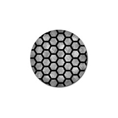 Hexagon2 Black Marble & Gray Metal 2 (r) Golf Ball Marker by trendistuff